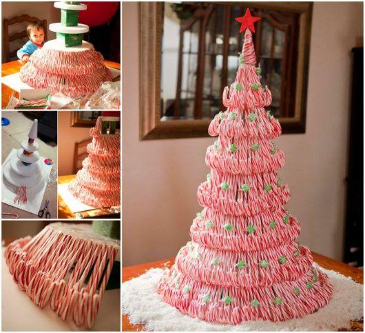 Pirulitos típicos do Natal também podem ser usados para fazer árvore