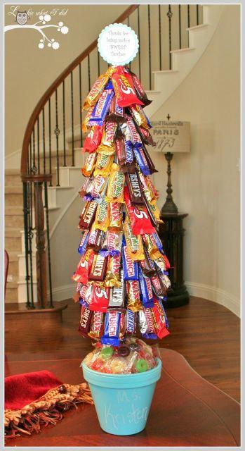 Veja que ideia de colocar os bombons na árvore