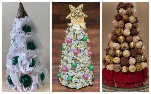 São muitas as possibilidades de árvores de Natal com doces