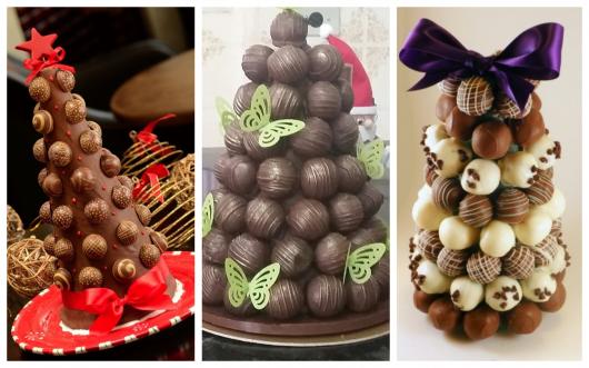 Árvores de Natal feitas com trufas de chocolate
