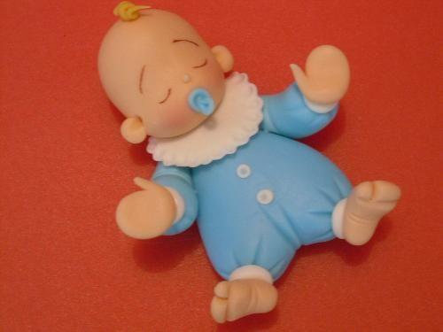 Bebê de biscuit para menino com roupa azul