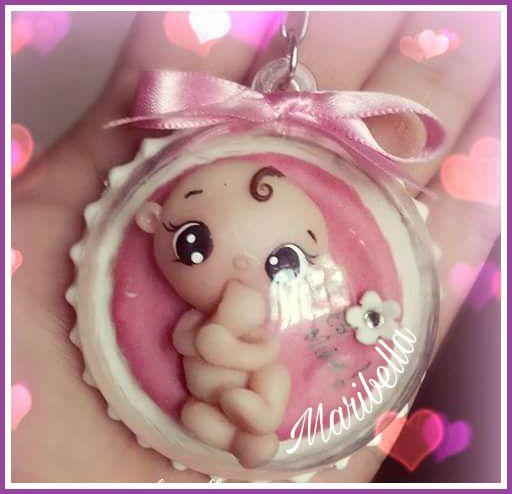 Bebê de biscuit para menina chaveiro
