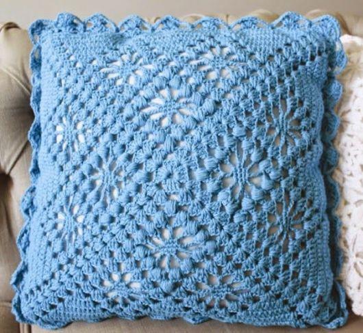 Como fazer almofadas: Azul de crochê
