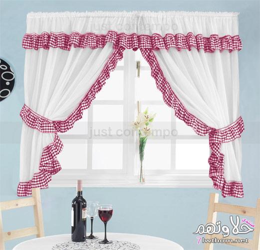 Como fazer cortinas: para cozinha branca com borda vermelha