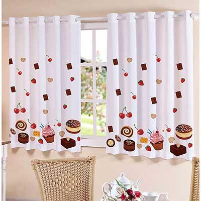 Como fazer cortinas: para cozinha com estampa de doces