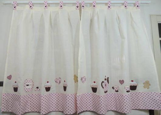 Como fazer cortinas: para cozinha com estampa de cupcake