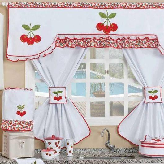 Como fazer cortinas: para cozinha branca e vermelha