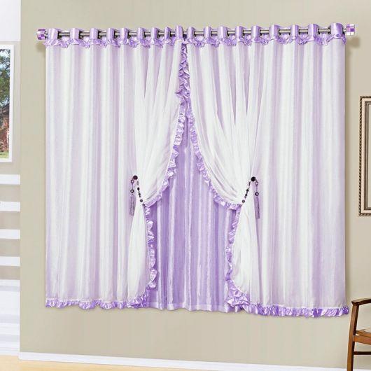 Como fazer cortinas: lilás e branca para quarto