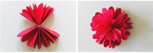 Como fazer flor de papel seda vermelha