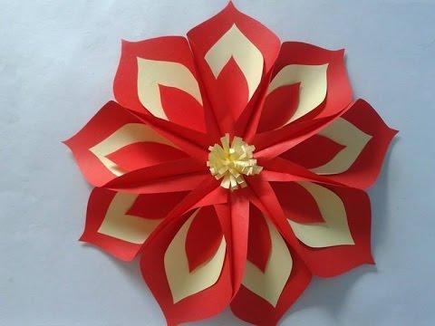 Como fazer flor de papel cartão vermelha e amarela