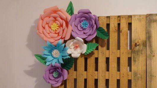Como fazer flor de papel gigante lilás