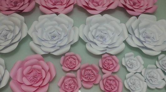 Como fazer flor de papel gigante rosa clara