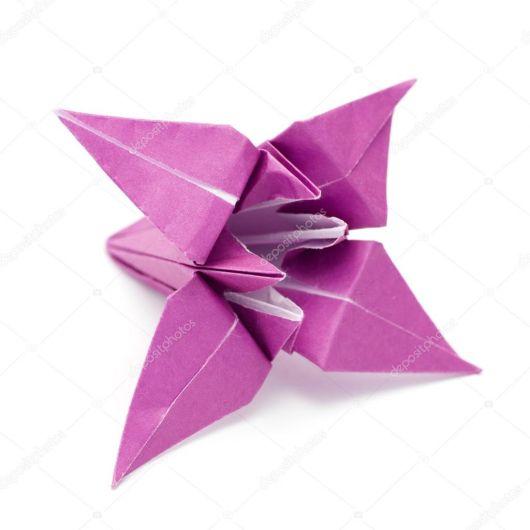Como fazer flor de origami lilás