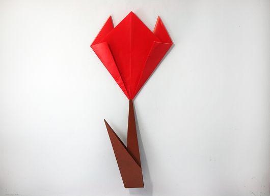 Como fazer flor de origami vermelha