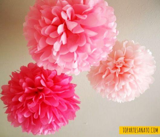 Como fazer flor de papel seda pink