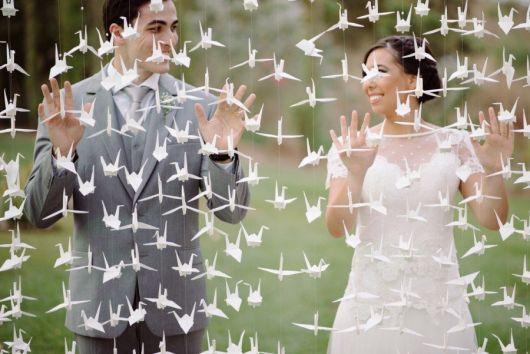Decoração de casamento com tsuru