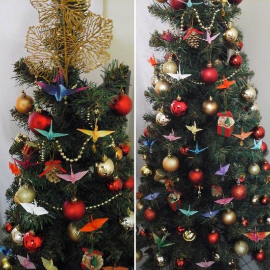 Decoração de Natal com tsuru