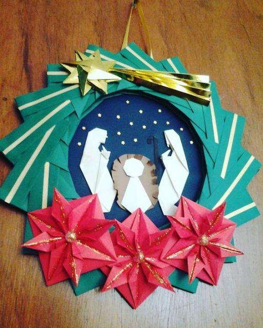enfeite de porta de origami