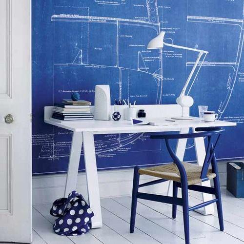 Lindo home office com decor azul e branca