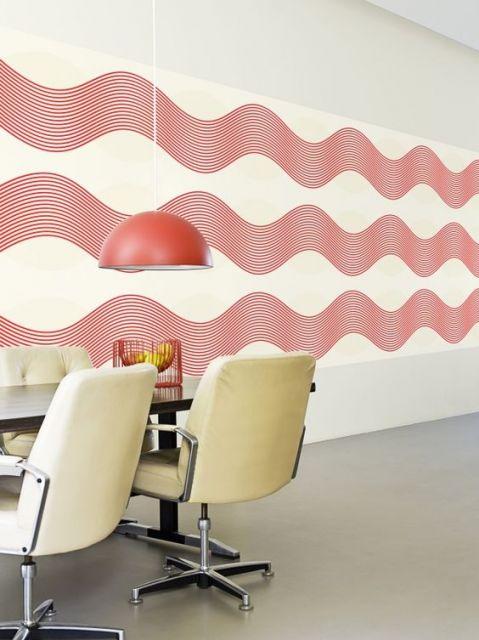 Linhas modernas vermelhas que se destacam no ambiente