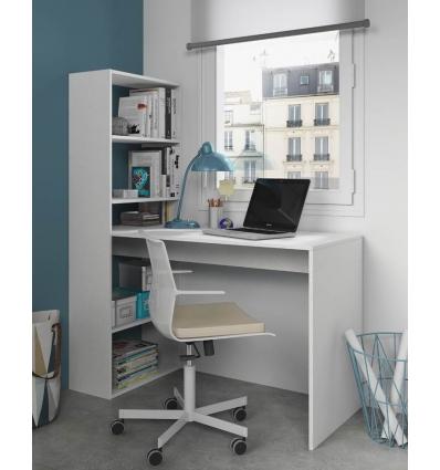 Dica de escrivaninha acoplada em estante para escritório