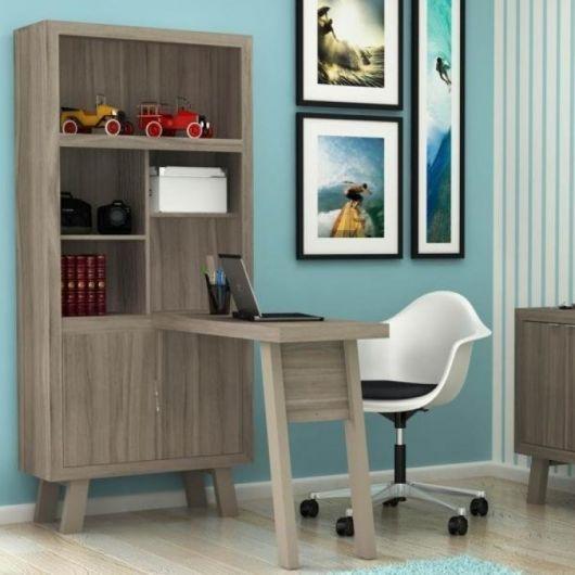 Escrivaninha com estante 2 portas - Madeira Madeira