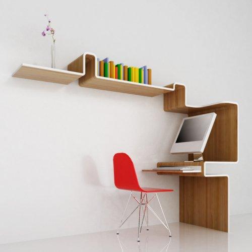 Escrivaninha moderna com estante para escritório