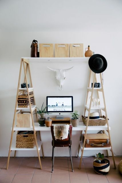 escrivaninha home office estante