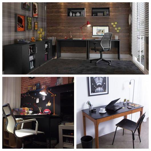 Diferentes inspirações de decoração com a escrivaninha preta. Um projeto mais lindo que o outro, não acha?