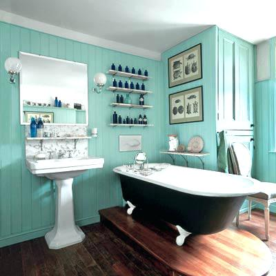 lavabo retrô azul com prateleiras