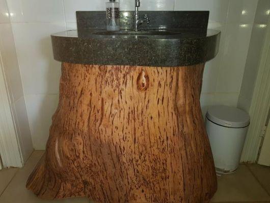 lavabos rústicos pia tronco de árvore
