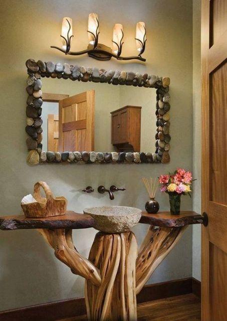 lavabos rústicos com troncos de árvore