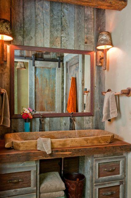 lavabos rústicos com móveis antigos