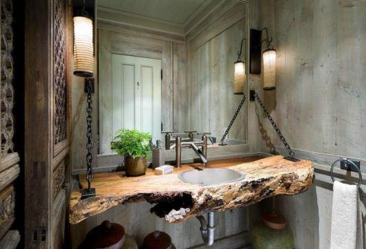 lavabos rústicos com madeira crua