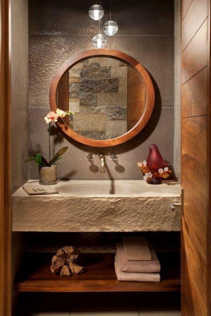 lavabos rústicos com alvenaria