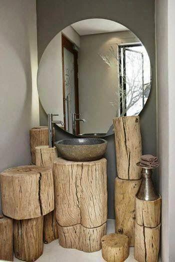 lavabos rústicos com toras de madeira