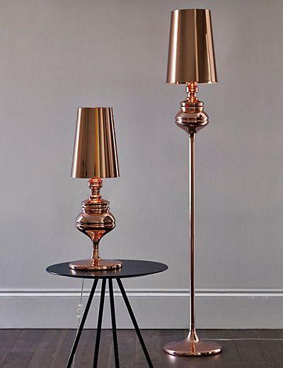Invista na modernidade com uma luminária rose gold de chão