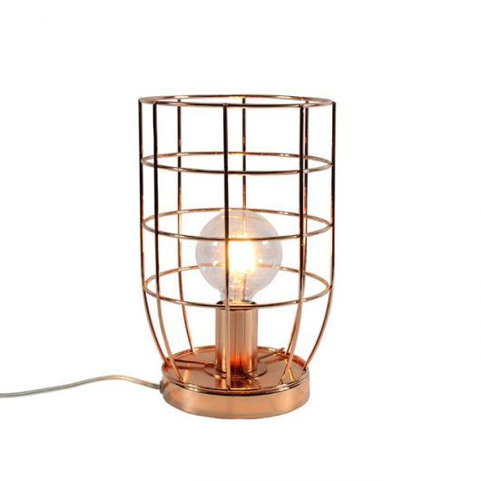 Pequena luminária de mesa rose gold