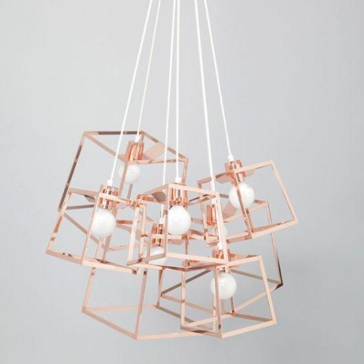 Sugestão de luminária contemporânea rose gold