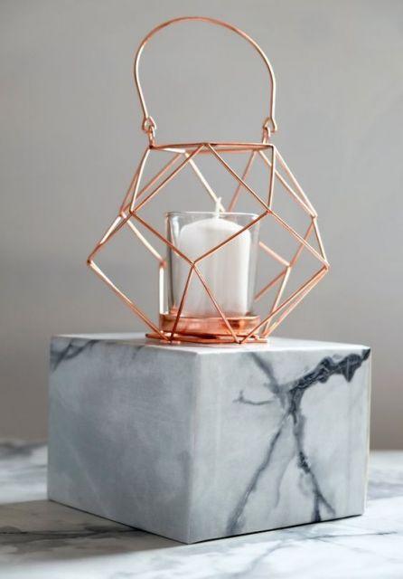 luminária rose gold diamante está na moda