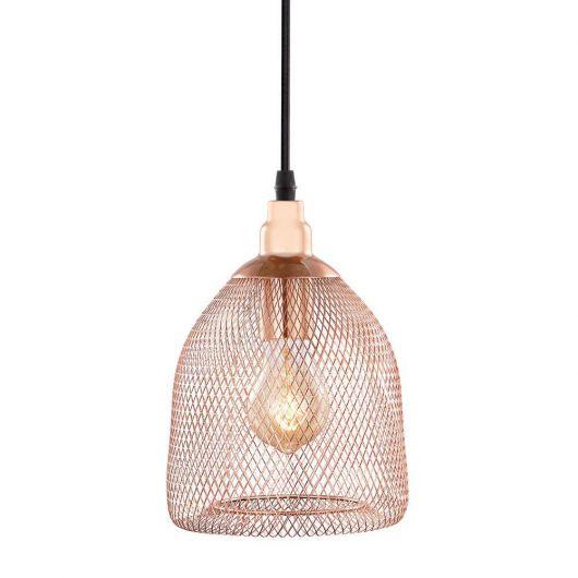 Luminária rose gold pendente com estilo industrial