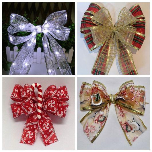 Alguns modelos de laços para árvore de Natal que você encontra em lojas especializadas. São várias cores, texturas, estampas, tamanhos, etc.