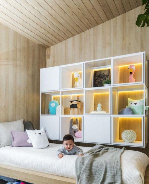 Nichos iluminados são tendências interessantes em quartos infantis
