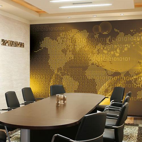 Para a área de reuniões, um papel de parede enorme que serve até como orientação