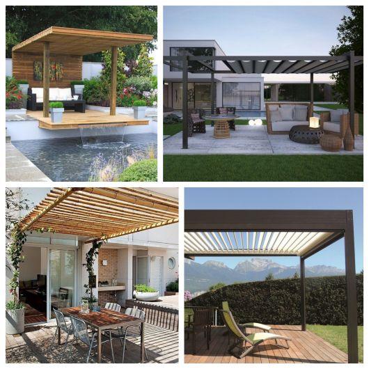 Alguns tipos de pergolado além do concreto: madeira, alumínio, bambu e ferro