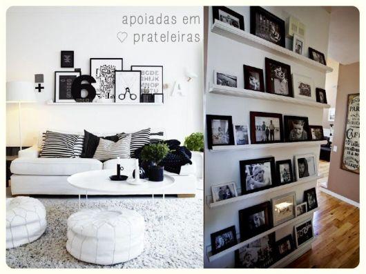 Inspiração de sala com decoração preto & branco
