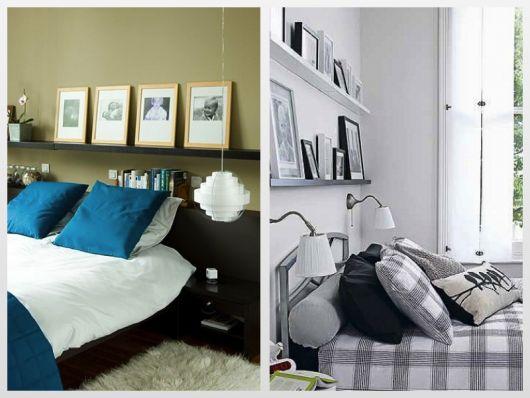 Ideias opostas de decoração de quarto com prateleiras com quadros