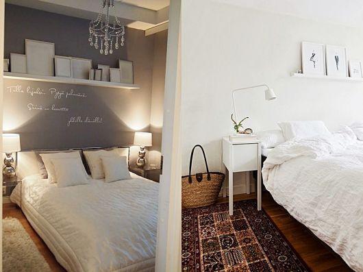 Duas formas de decorar com prateleiras para quadros no quarto