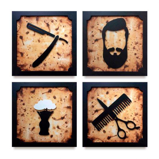 Conjunto de quadros retrô para barbearia
