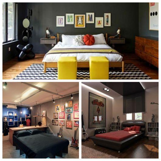 Inspiração moderna com cores para quarto masculino em tons mais sóbrios e quentes